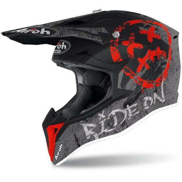 Кроссовый шлем Airoh Wraap Broken красно-матовый M